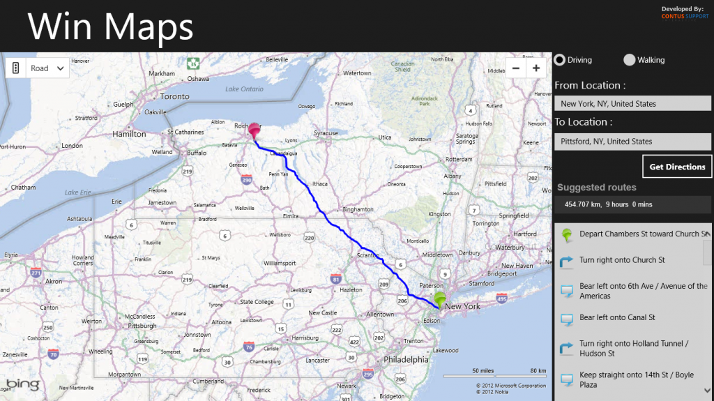 windows 8 map app get directions