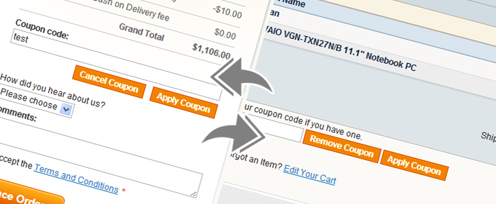Coupon code field in Magento
